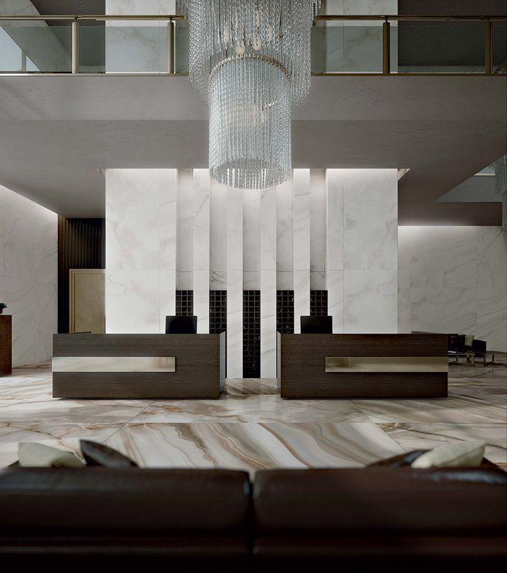 Hotel Collection Alabaster: Alabaster Marble Flooring Of Shiny Ceramic Tiles