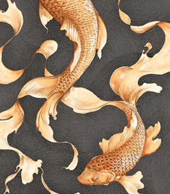 Koi fish wallpaper from koi by seabrook wallcoverings for Koi fish bathroom decorations