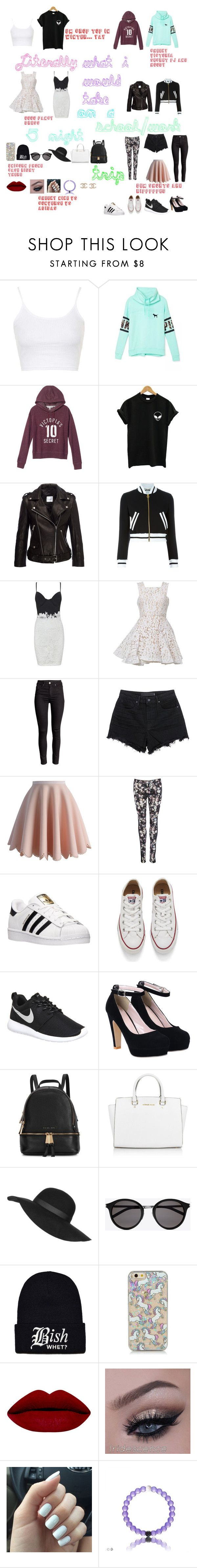 """""""cheeky trip ;)"""" by summer-maia ❤ liked on Polyvore featuring Topshop, Victoria's Secret, Moschino, Alex Perry, T By Alexander Wang, Chicwish, adidas, Converse, NIKE and Michael Kors"""