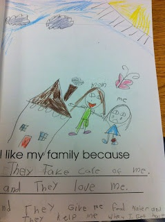 Family Unit: I like my family because... as well as some other activities (incl. math sight words/poem)