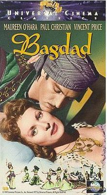 Bagdad is a 1949 adventure film starring Maureen O'Hara, Paul Hubschmid, and Vincent Price.  It tells the story of a Bedouin princess (Maureen O'Hara) who returns to Baghdad after being educated in England. She finds that her father has been murdered by a group of renegades. She is hosted by the Pasha (Vincent Price), the corrupt representative of the national government. She is also courted by Prince Hassan (Paul Hubschmid), who is falsely accused of the murder.