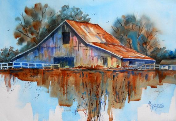 Watercolor Barn Rustic by Colorado Artist by MarthaKislingArt, -- Barn in water ???????