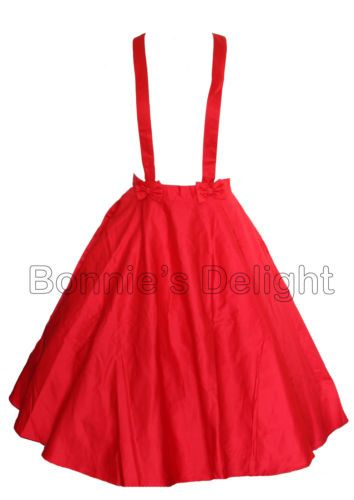 NEW COLLECTIF RED 1950S ROCKABILLY SWING RETRO VINTAGE FULL CIRCLE SKIRT 6-14 65e