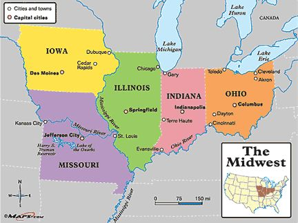Map Of US Midwestern States Region Consists Of States In The - United states map illinois