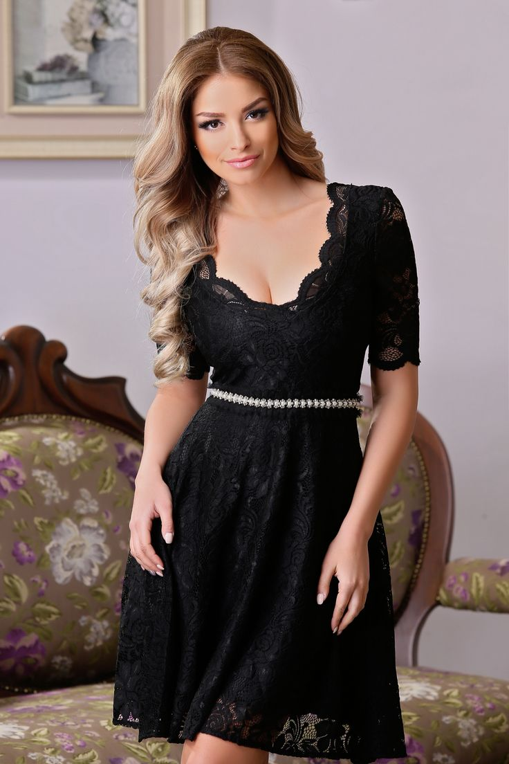 "StarShinerS Sweet Style Black Dress, pearl embellished details, embellished accessories, accessorized with tied waistband, ""V"" cleavage, inside lining, short sleeves, back zipper fastening, laced fabric, slightly elastic fabric"