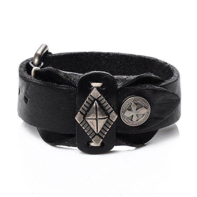 Cross Vintage Cuff Leather Bracelet for Men [Variations]
