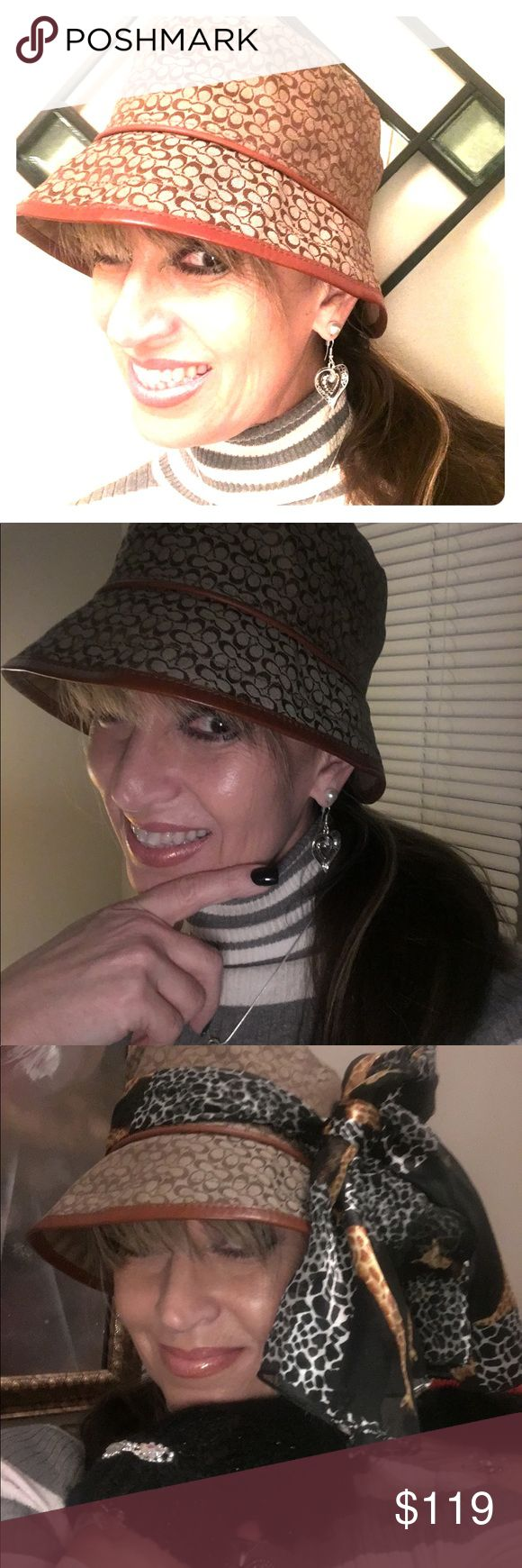 Coach Hat Classic All Seasons Classic Beige & Brown - Rim can be worn turned UP or DOWN or a Combination, and may be embellished with your Favorite Scarf or Pin - get Creative in Fine Style! Coach Accessories Hats