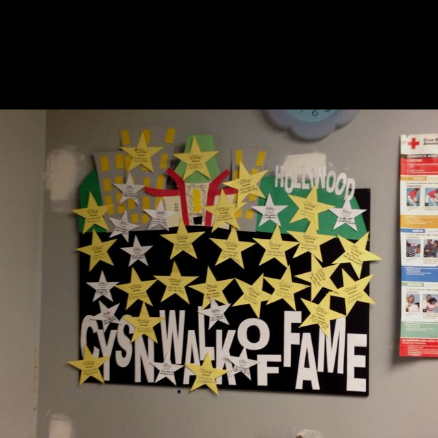 "I made this for employee recognition, but it's great for the classroom too. Each star has an employee's name, and what they're great at that makes them a ""star."""