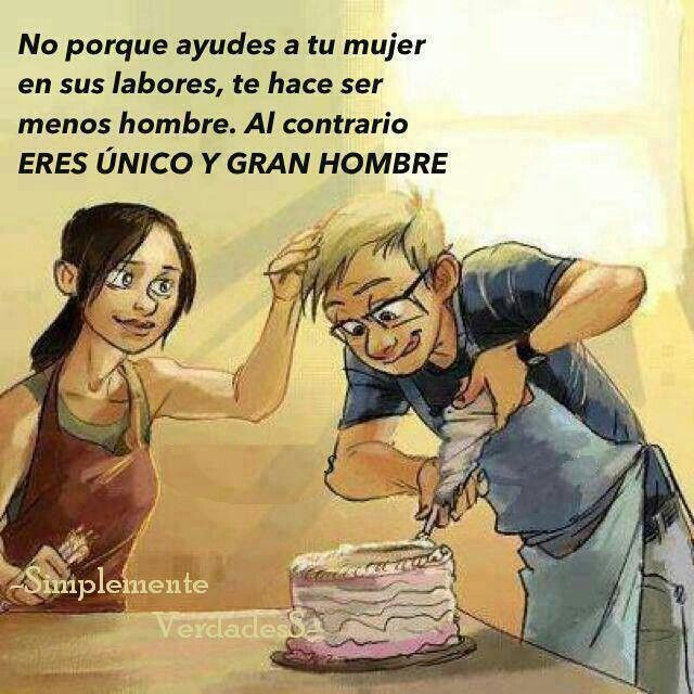 """Me encanta cuando me ayudas! #amor """"Because you help your woman with girly chores, doesn't make you less of a man. In fact it makes you unique and a great one!"""""""
