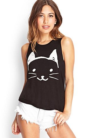 Cat Graphic Tank Top | FOREVER21 - 2000059385