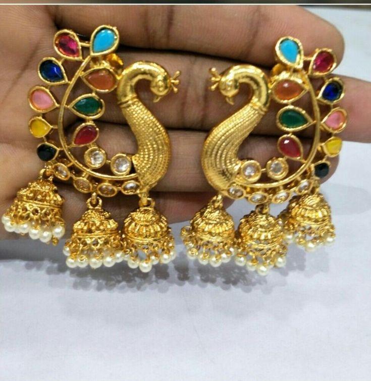 Indian Bollywood Asian Bridal Jewellery Party Ethnic Wear Polki Jhumka Earrings #VGJewel #DropDangle