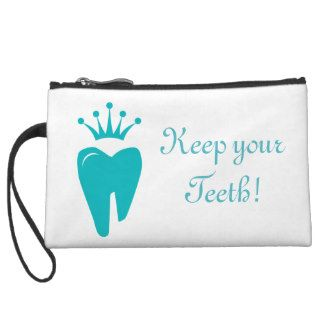 Cute Tooth Crown Logo Blue Clutch Bag Wristlet Purse