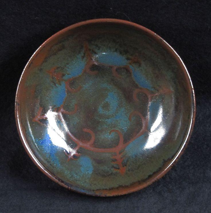 Wax resist bowl, cobalt over tenmoku slip glaze
