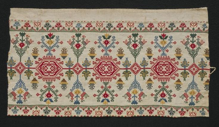 Border      Place of origin:           Cyclades, Greece (made)     Date:      18th century (made)     Artist/Maker:      Unknown (production)     Materials and Techniques:      Linen, embroidered in silks in satin, darning, cross, long-armed cross and chain stitches