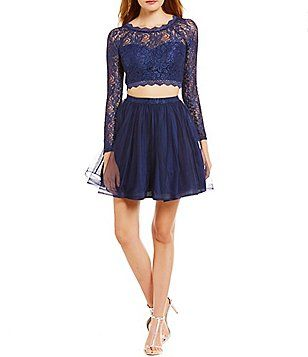 7bf7994b26b Sequin Hearts Lace Long-Sleeve Two-Piece Party Dress