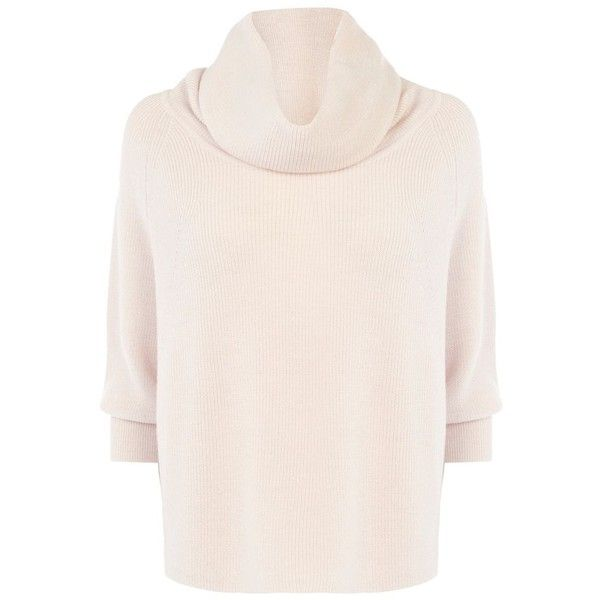 Karen Millen Cowl Neck Sweater found on Polyvore featuring tops, sweaters, nude, women, cowl neck sweater, pink cowl neck sweater, draped cowl neck top, cowlneck top and drapey top