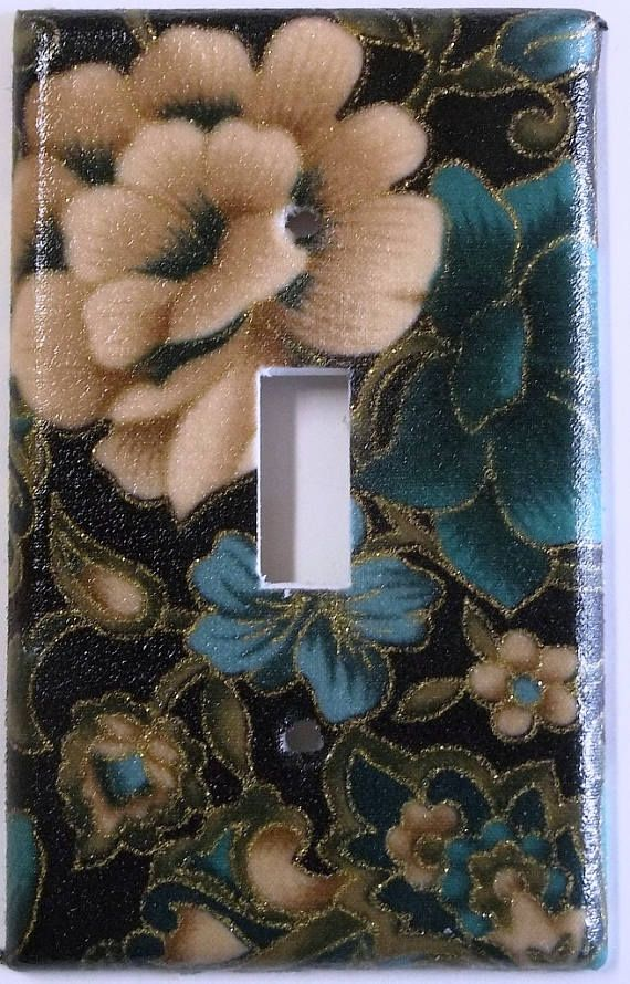 Flowers Floral Blue Cream Tan Glittery Teal Bedroom Wall Decor