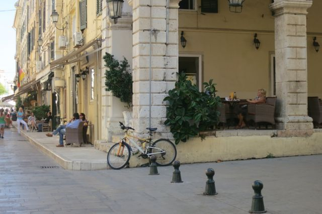 Coffee shops and people watching in Corfu, Greece.
