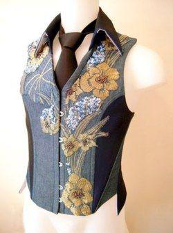 Mens' corset vest, from Sylvain Nuffer Creations / vertforêt / vêtement / gilet / fleurs