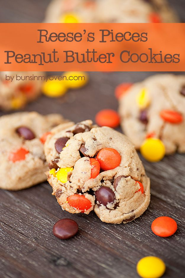 Reese's Pieces Peanut Butter Cookie #recipe by bunsinmyoven.com   These soft and chewy cookies are full of candy and chocolate!