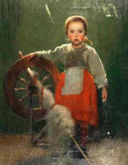 Marianne Stokes (1855 – 1927, Austrian-born English) Young Girl with a Spiining Wheel- I AM A CHILD--