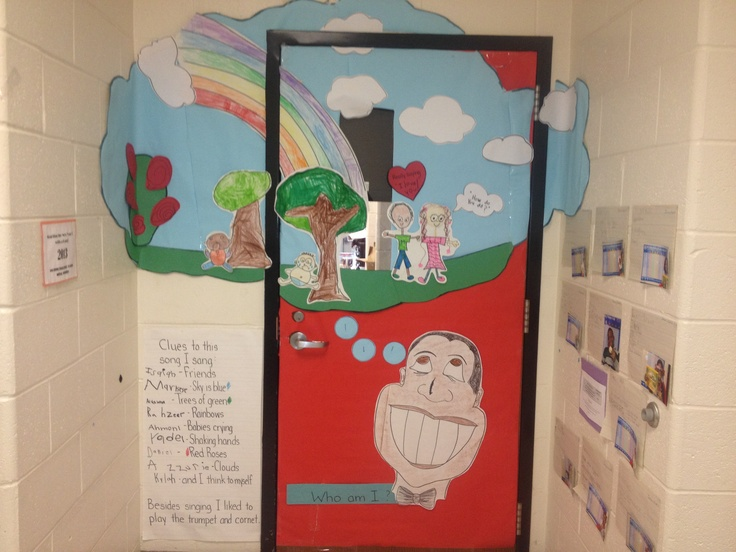 Black History Month classroom door honoring Louis Armstrongu0027s song  What a Wonderful World  & 44 best Doors and bulletin boards images on Pinterest | Bulletin ... pezcame.com