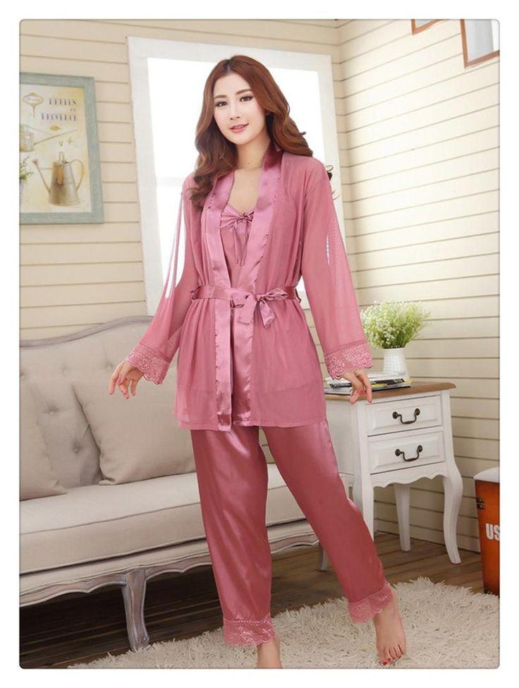 New Style Women Silk Pajamas Sets Spring Summer Design Elegant Lace Embroidered Female Satin Pajamas 3 pcs with belt soft 2016