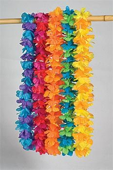 Silk and polyester multi-color leis are covered in festive flowers.