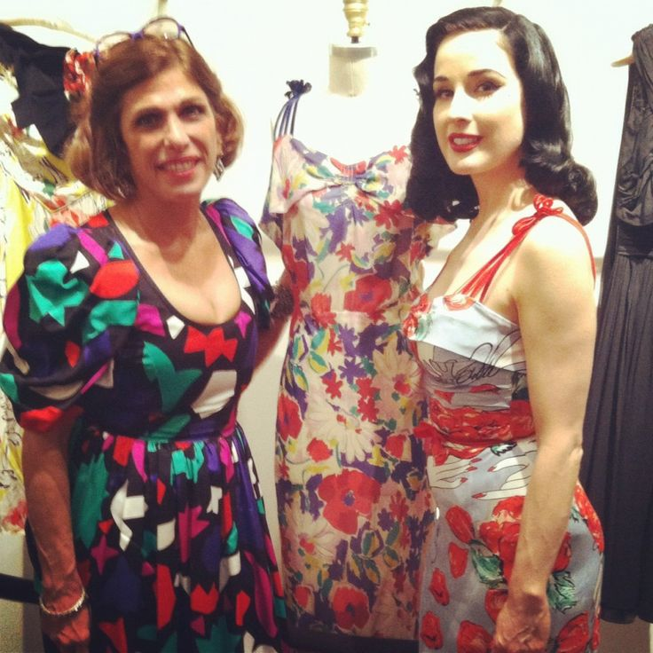 "Dita Von Teese with Doris Raymond of The Way We Wore and the original 1930's vintage dress that inspired her ""Bon Bon"" dress."