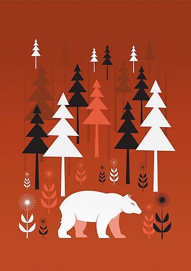 Print   Fotodruck   Bär im Wald   Design & Kunst   Bäume   abstrakt   rot   Grafikdesign