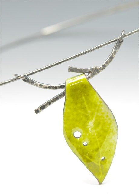 Enamel Leaf and Twig Choker Necklace by Reiko Miyagi (Enameled Necklace) | Artful Home