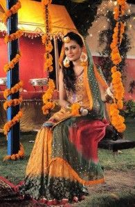 Beautiful Pakistani Mehndi Dresses 2014 for women