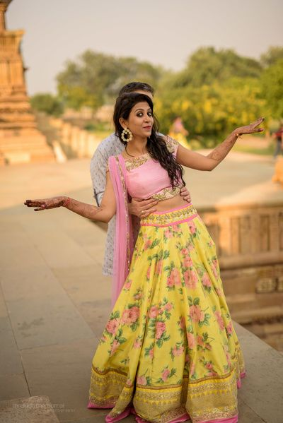 lemon yellow lehenga, floral print lehenga, rose print lehnega, light pink and yellow lehenga, crop top lehenga