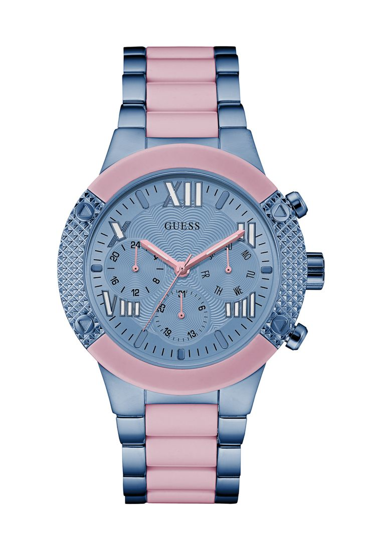 Pink and Blue Show-Stopping Sport Watch | GUESS.com