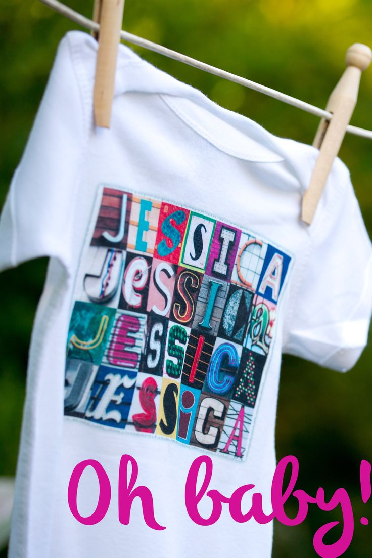 These custom, one piece onesies for baby featuring any name in sign letters make the perfect baby gift!