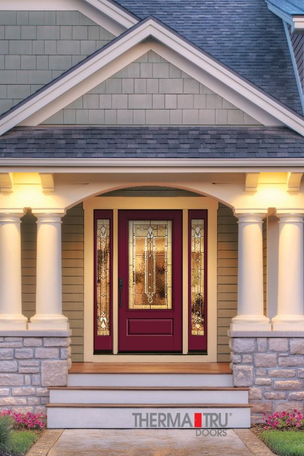 3 4 Lite 1 Panel Painted Fiberglass Exterior Door With Decorative Glass By Therma Tru Fiberglass Exterior Doors Exterior House Siding Exterior Doors