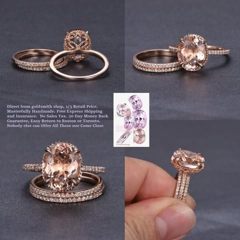 Oval Morganite Engagement Ring Sets Pave Diamond Wedding 14K Rose Gold 10x12mm