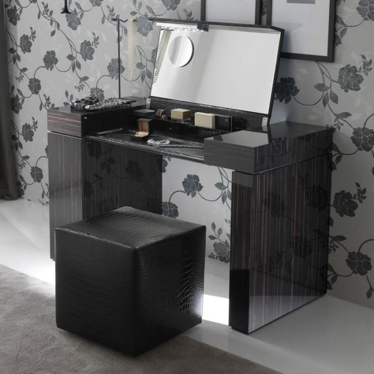 Modern dressing table beautiful modern dressing table black color and floral wallpaper - Modern bathroom dressing table ...