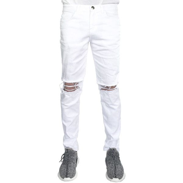enslaved The Ripped Skinny Jeans in White (165.940 COP) ❤ liked on Polyvore featuring men's fashion, men's clothing, men's jeans, white, mens white jeans, mens ripped jeans, mens distressed jeans, mens ripped skinny jeans and mens white distressed jeans