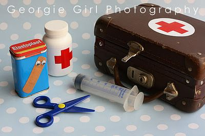 I loooove this idea - been wanting to buy a doctor kit but this seems more fun. Love the safety scissors and syringe.