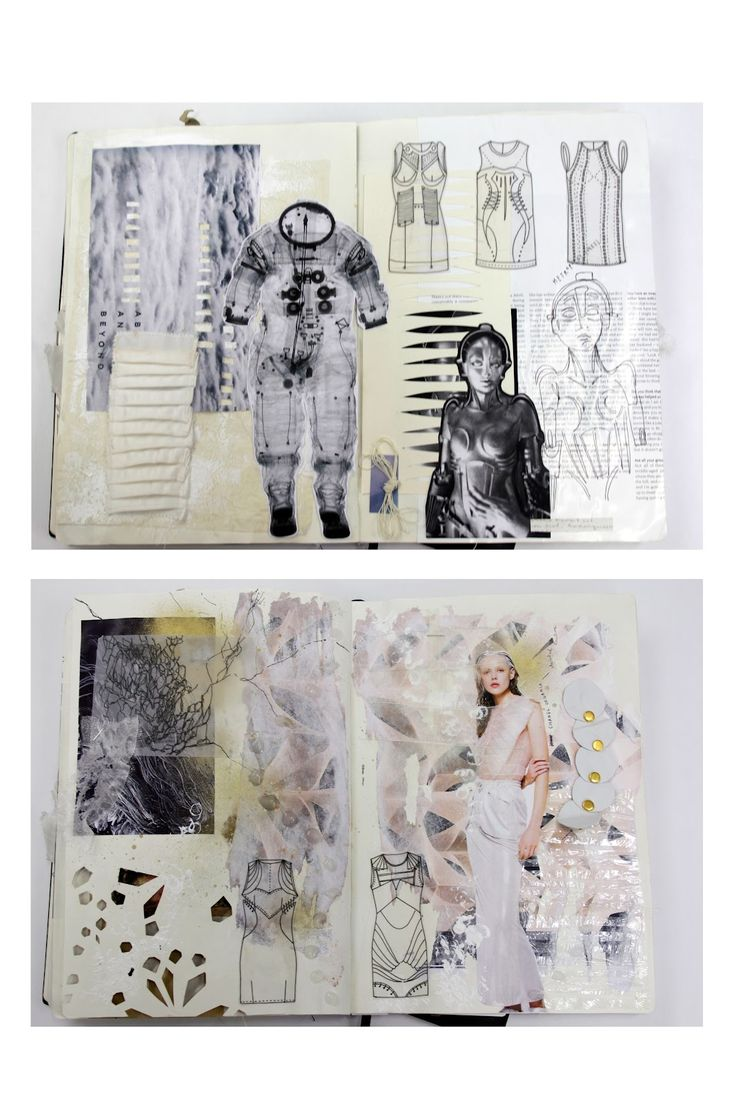 Fashion Sketchbook - fashion design development with visual research, sketches, fabric manipulation & surface structure experimentation; fashion portfolio // Natasha Elliott