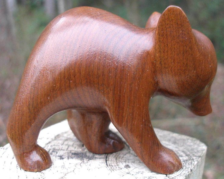 Vintage Hand Carved Wood Bear Cub Cherokee Indian Signed -2812
