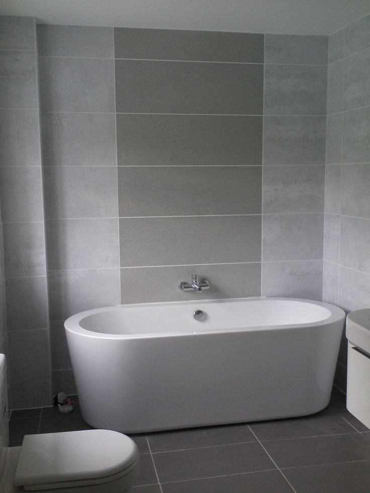 Inspiring small bathroom color ideas with grey wall tiled for Small space bathroom