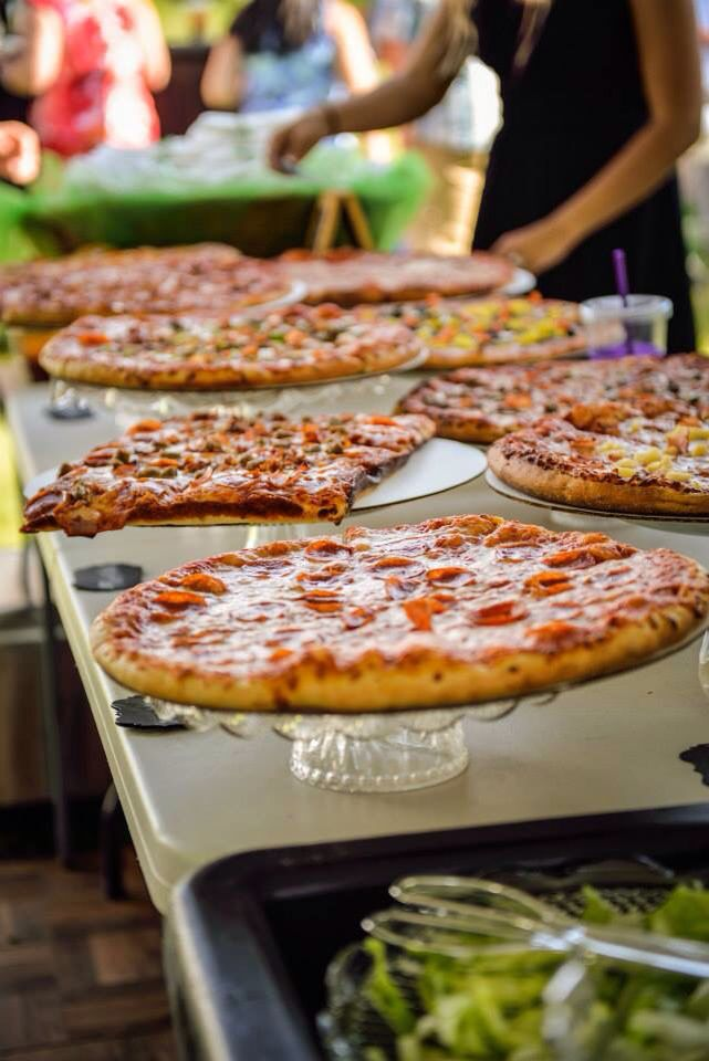 Pizza station at wedding