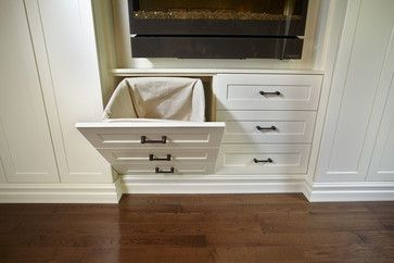Built in hampers in closet! Yes please! Antique White Wall Unit - traditional - closet - toronto - Space Solutions.ca