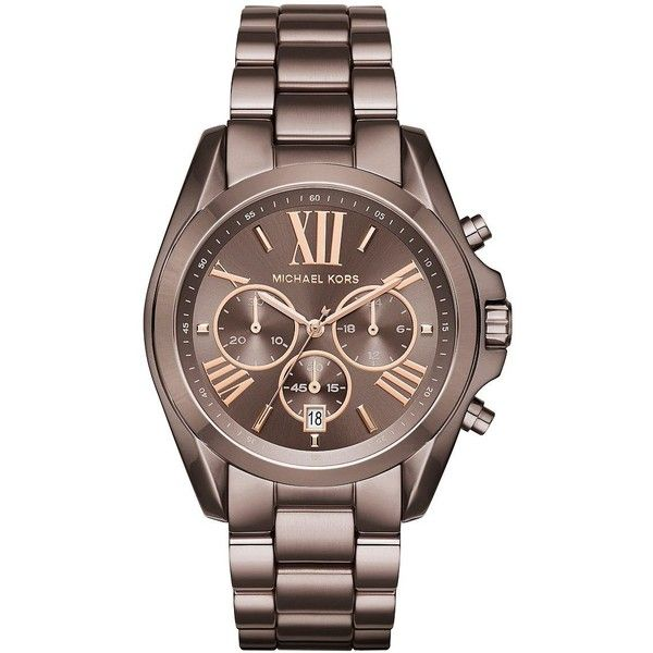 Michael Kors Bradshaw Sable IP Stainless Steel Link Bracelet... ($250) ❤ liked on Polyvore featuring jewelry, watches, brown, stainless steel watch bracelet, quartz movement watches, michael kors, watch bracelet and roman numeral watches