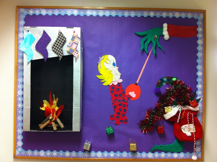 """A Whoville """"Grinch"""" bulletin board-easy to make with items around your house"""