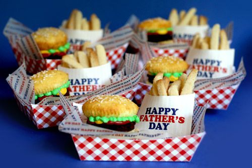 Hamburger Brownie Burger Cupcakes & Cookie Fries  - instead of Father's Day I am going to do this for my 3 y/o's 4th bday. It is carnival/circus themed. We are having hotdogs and pizza for lunch so how about these cuties for dessert!
