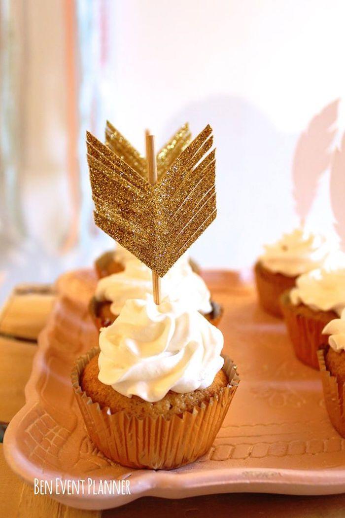 Cupcake from a Tribal Boho Birthday Party via Kara's Party Ideas | KarasPartyIdeas.com (17)