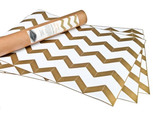 Chevron Gold Metallic Drawer Liners...so pretty on exposed book shelves